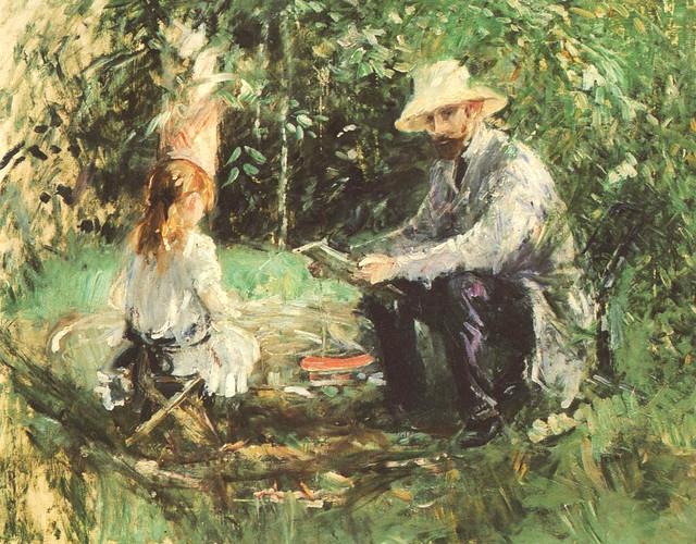 Berthe Morisot:  Eugène Manet & their daughter Julie