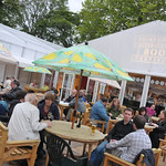 having a drink at the Signing Tent | Outside the Signing Tent at Edinburgh International Book Festival