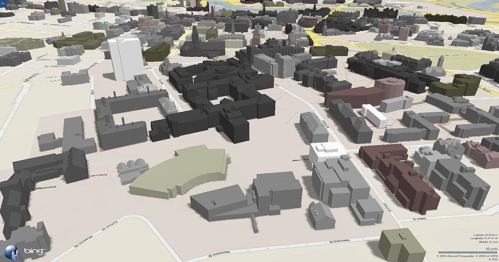 Harvard campus map in 3D looking south from the Divinity S ...