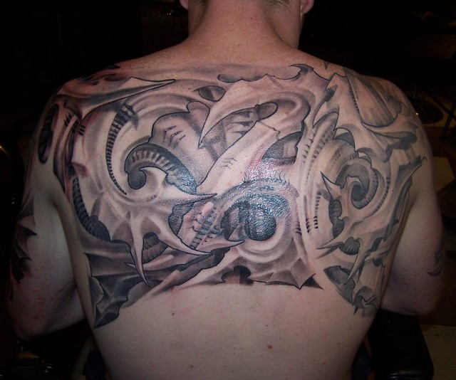 2ad5946c8 biomechanical half back tattoo | Tattoos by Kali | Flickr