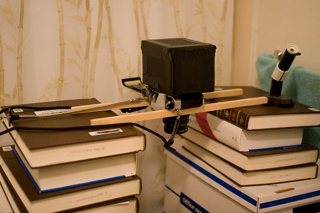 DIY enlarger | Encyclopedia Britannica volumes plus a couple