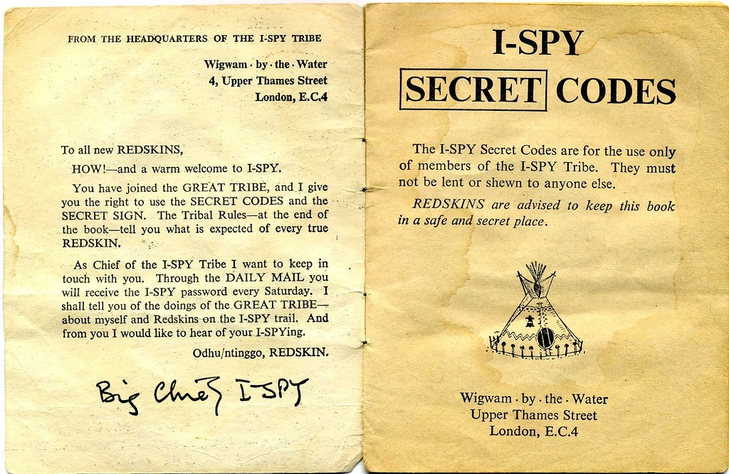 Big Chief I-Spy Secret Codes  Booklet, 1960s Daily Mail | Flickr