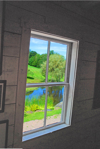 trees green window barn vermont