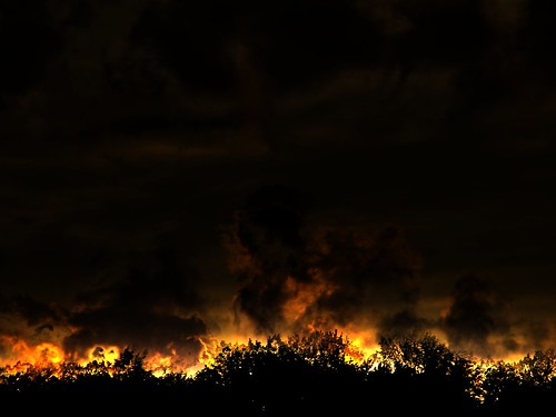 sunset silhouette night dark landscape fire forestfire highdynamicrange fie settingsun photomatix tonemapping pfff bergholzohio primevalforestgroups pfhell