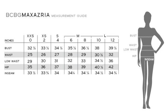 Bcbg size chart measured in inches joyces closet flickr