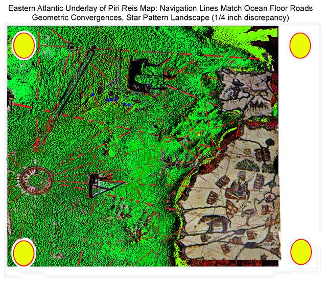 Piri Reis map, overlaying Eastern Atlantic Topographic image, view in 400%