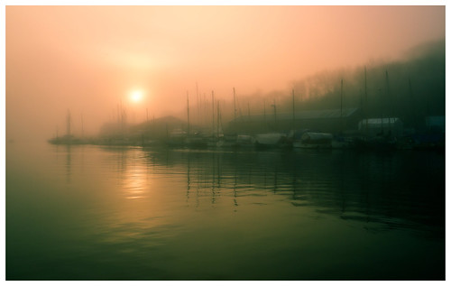 penryn river morning dawn sunrise calm misty mist fog soft light early falmouth cornwall cornish estuary harbour quayside boats water