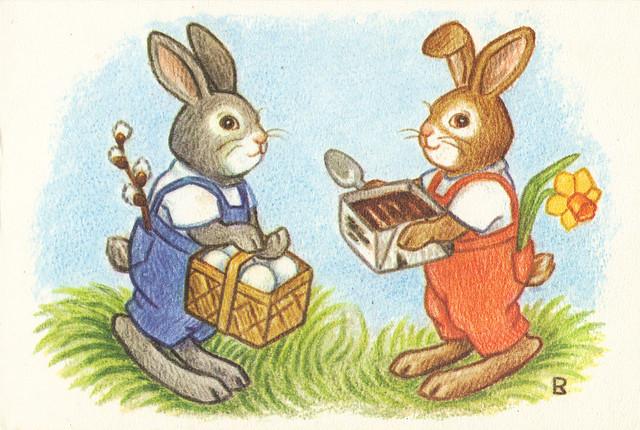 Cartoon Easter Rabbits Postcard