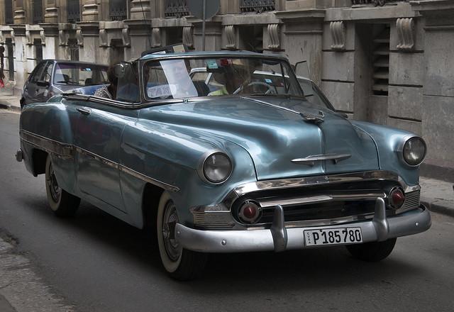 1953 Light Blue Chevrolet Bel Air Convertible Taxi. Havana, Cuba
