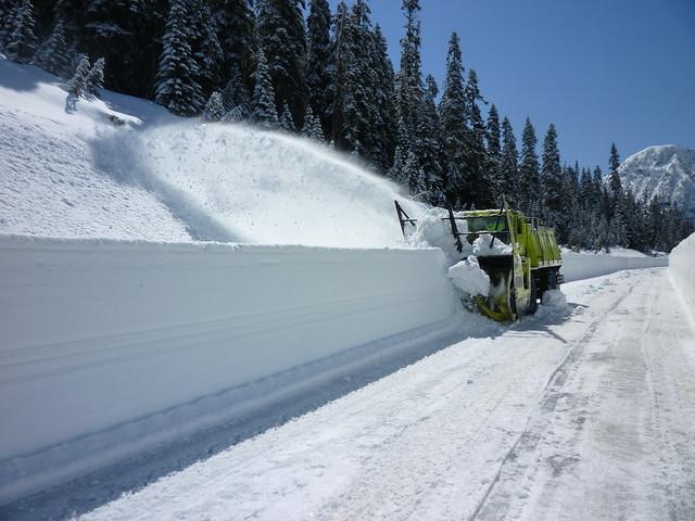 Snowblower shooting snow near Rainy Pass