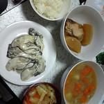 ご飯、鰤大根、生牡蠣、肉じゃが、味噌汁。自作頑張ってみた よ