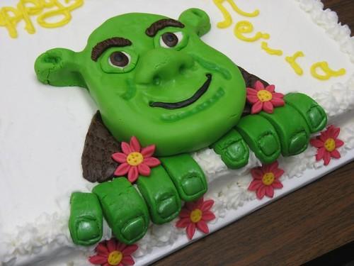 Remarkable Shrek Birthday Cake Rice Crispy Treat Shrek Covered In M Funny Birthday Cards Online Elaedamsfinfo
