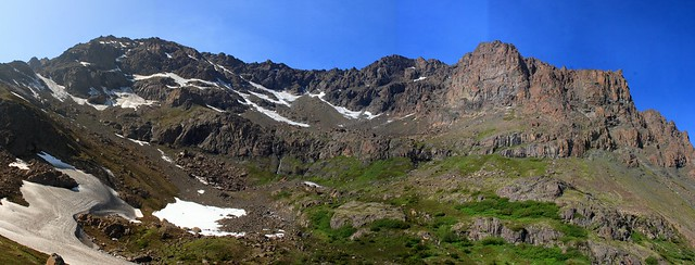 Stitched shot of the backside of Ptarmigan Peak