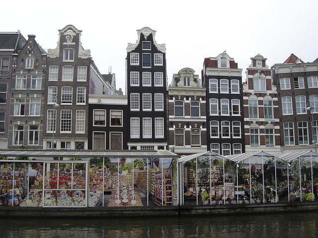 Floating Flower Market.Amsterdam Singel With Floating Flower Market The Singel W
