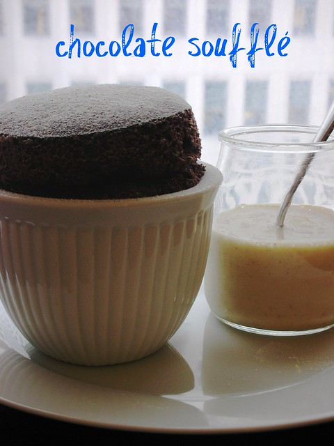 chocolate soufflé with hazelnut anglaise