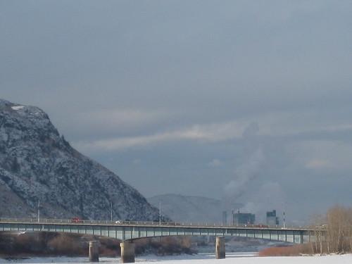 bridge winter mountains river kamloops