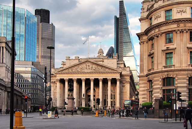 Victorian Classical Revival: Royal Exchange, Sir William Tite, 1844 - 'Bank Junction', London EC3, England