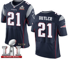 Nike Patriots #21 Malcolm Butler Navy Blue Team Color Super Bowl LI 51 Men's Stitched NFL New Elite Jersey