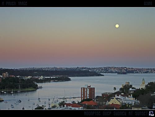 city sunset sky sun moon water geotagged boats lights interestingness cityscape dusk sydney explore moonrise hdr sydneyharbour explored inexplore aug5 mywinners geo:lat=33845504 tomraven savebeautifulearth aravenimage q309 geo:lon=151211099
