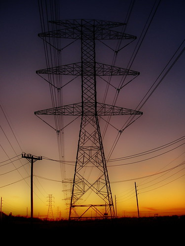 sunset sky tower colors lines silhouette electric power transmission orton 3109 dphdr olympus8