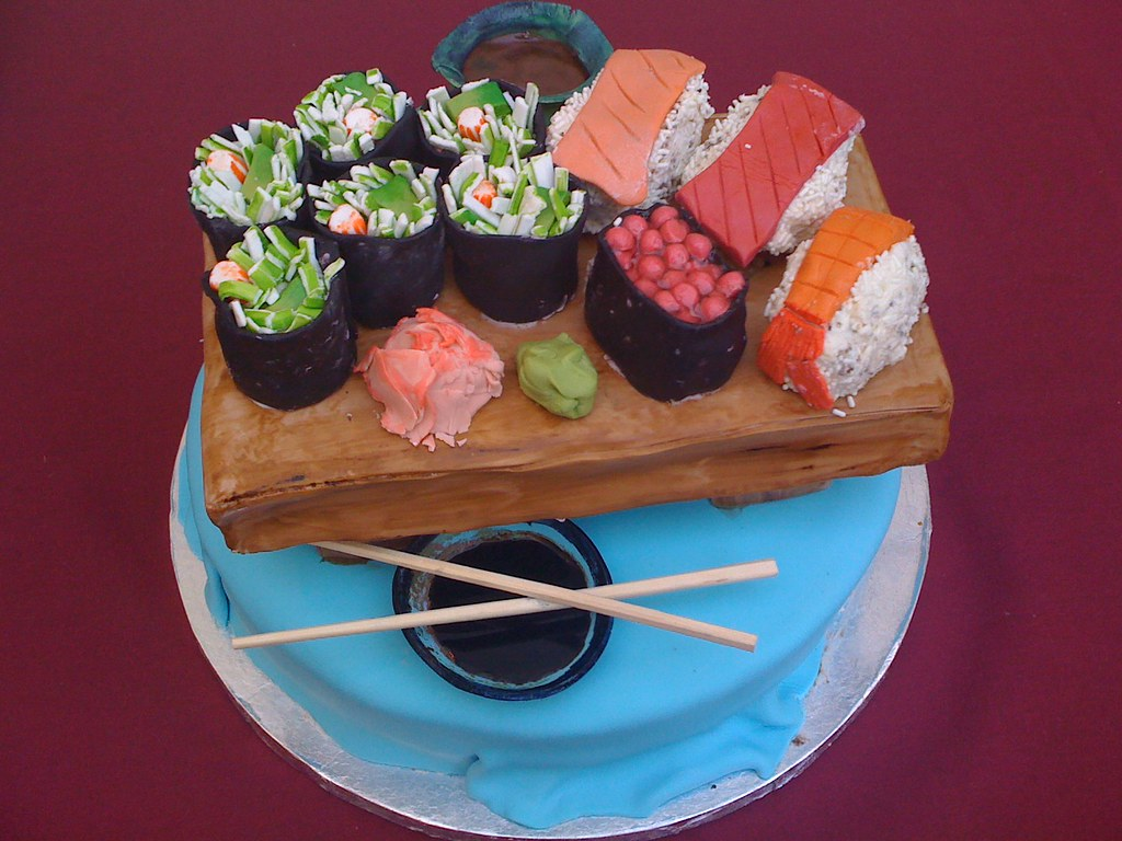 Miraculous Sushi Birthday Cake I Made This For My Friend Shellys 30T Flickr Personalised Birthday Cards Veneteletsinfo