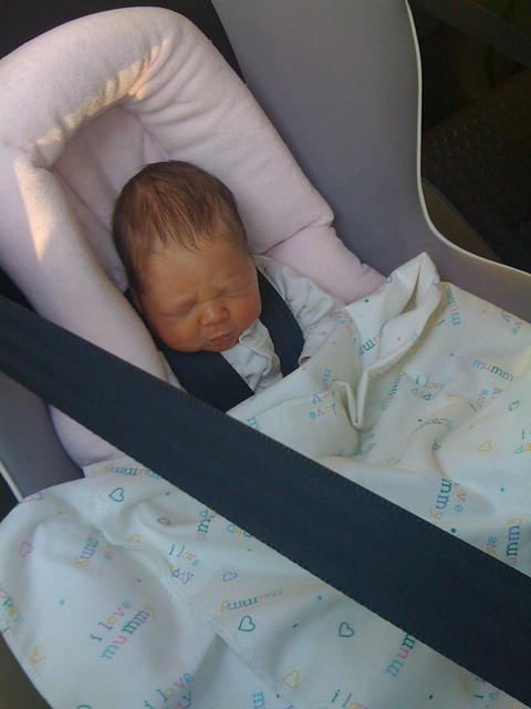 Eliza's first car ride