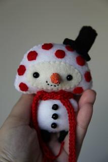 Mushroom Snowman Ornament