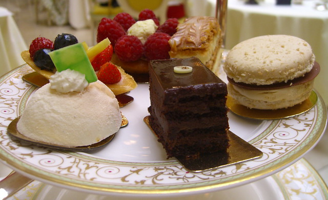 a selection of patisseries/gateaux
