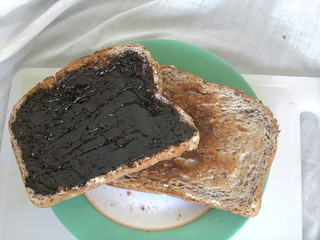 Marmite, thickly spread on toasted bread. | by Kent Fredric
