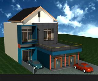 desain-rumah-tinggal-2-lantai | tampak samping depan rumah
