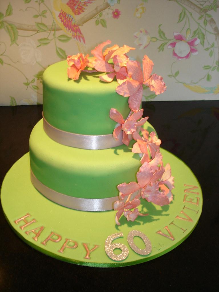 Strange Orchid Birthday Cake A 60Th Birthday Cake For A Lady Whos Flickr Funny Birthday Cards Online Kookostrdamsfinfo