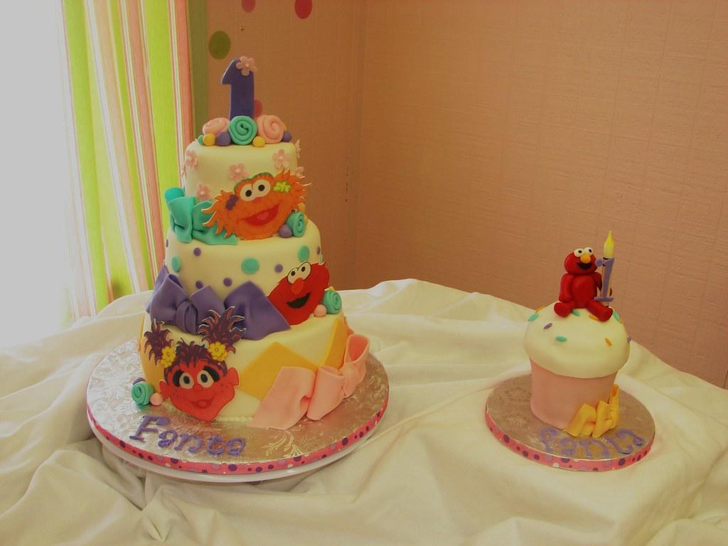 Enjoyable Sesame Street First Birthday Cake And Large Smash Cupcake A Personalised Birthday Cards Sponlily Jamesorg