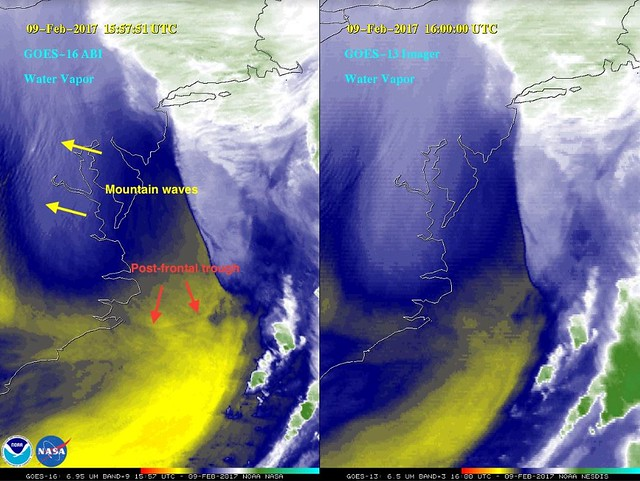 GOES-16 and GOES-13 Water Vapor Imagery of Winter Storm