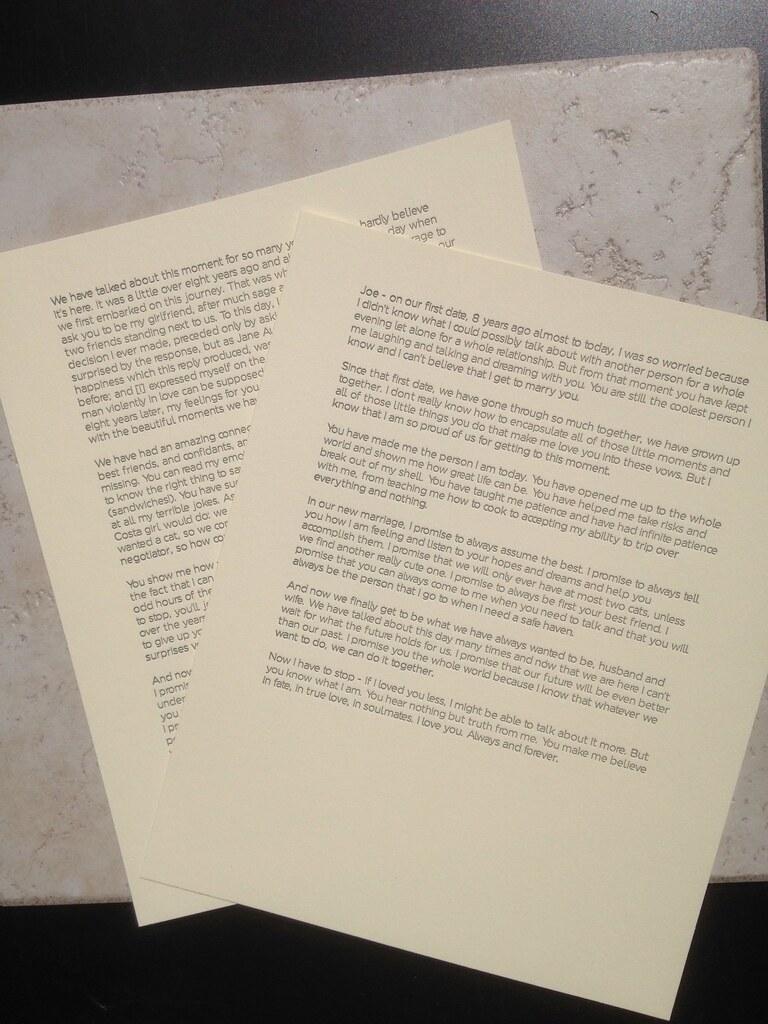 Entire wedding vows, letterpress