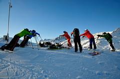 Rozcvička před kurzem moderní lyžařské techniky