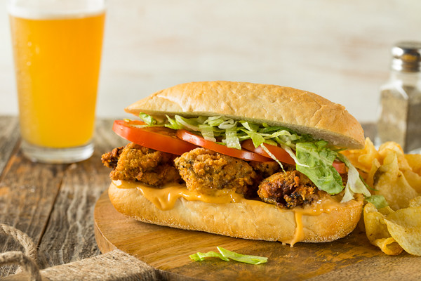 Homemade Fried Oyster Po Boy Sandwich