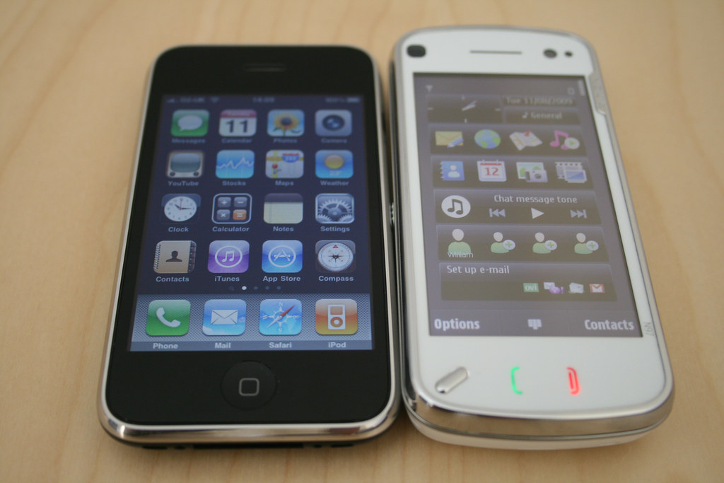 Nokia N97 and iPhone 3GS   Note: The Nokia N97 is not my pho