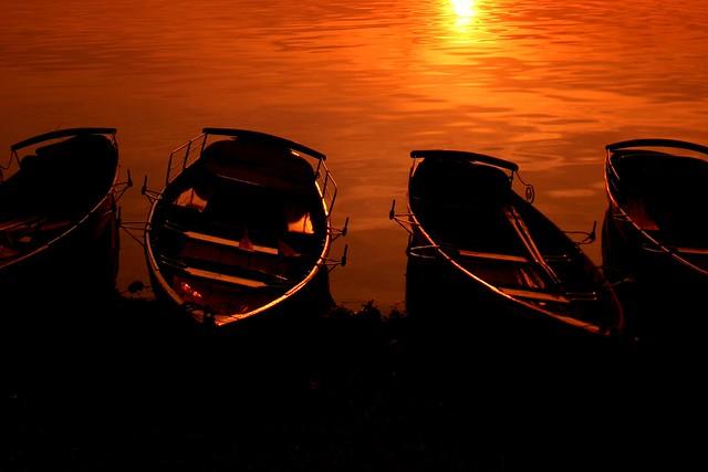 Burning boats