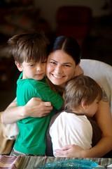 rachel gets good morning hugs from her boys - _MG_1766 | by sean dreilinger