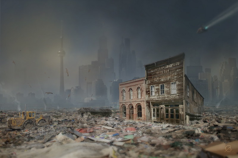 Old Ghost Town into Future Trash City