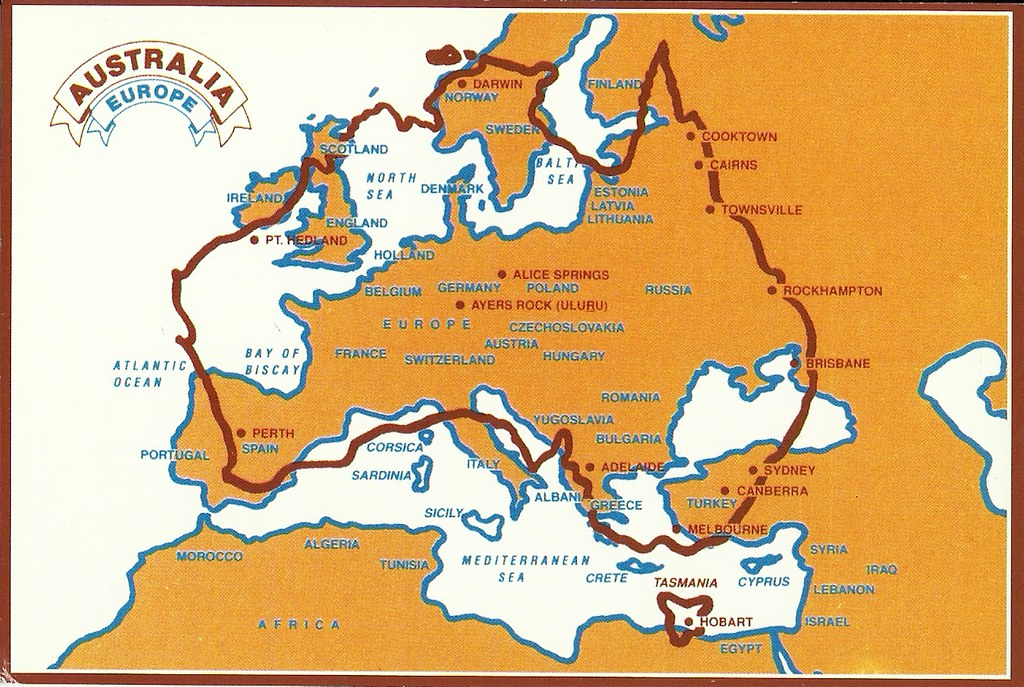 Map Of Australia Over Europe.Australia Over Europe Map Card Received From Aussiebear