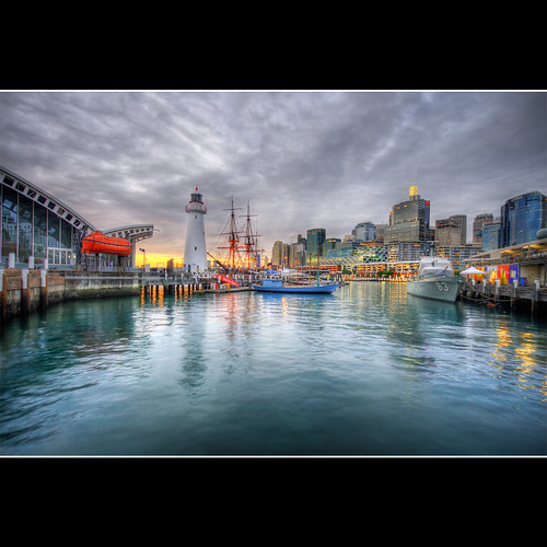 city sunset lighthouse water museum photoshop buildings bay ship cityscape cs2 harbour sydney australia wharf nsw newsouthwales darlingharbour darling hdr maritimemuseum photomatix sigma1020 3ex mywinners canon400d