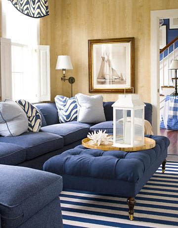 Classic blue + white Nantucket living room: Faux bois wall ...