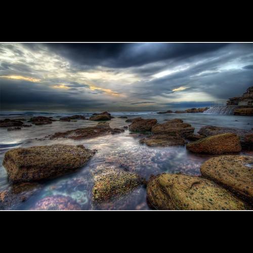 ocean morning blue beach water photoshop sunrise cs2 cloudy tide australia nsw lowtide hdr bronte brontebeach 3xp photomatix sigma1020 canon400d newsouthwals —obramaestra—