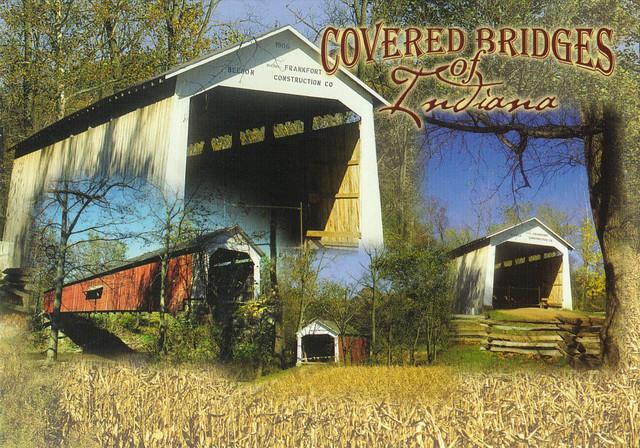Indiana Covered Bridges Collage Postcard