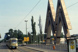 Leipziger Messe - Messegelaende Fairground with Tatra T4 Tram, Leipzig, June 1993 | by sludgegulper