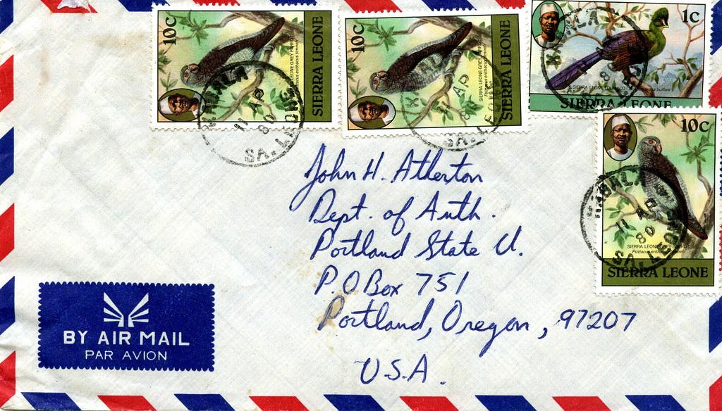Airmail envelope from Kabala, Sierra Leone (West Africa) to Portland, Oregon (USA)