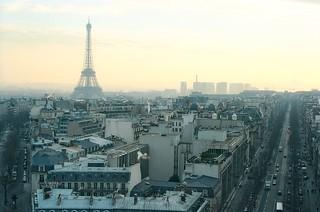 4. //60g/5k/5040/51.f - Eiffel Tower from The Arc de Triomphe, Paris 1996