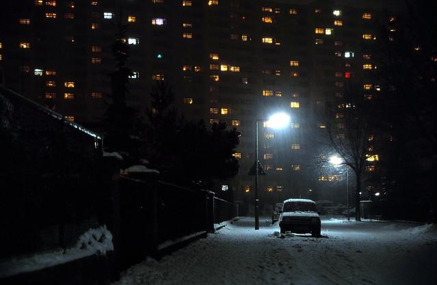 19870000 Berlin Märkisches Viertel Winter Schnee Nacht (2)