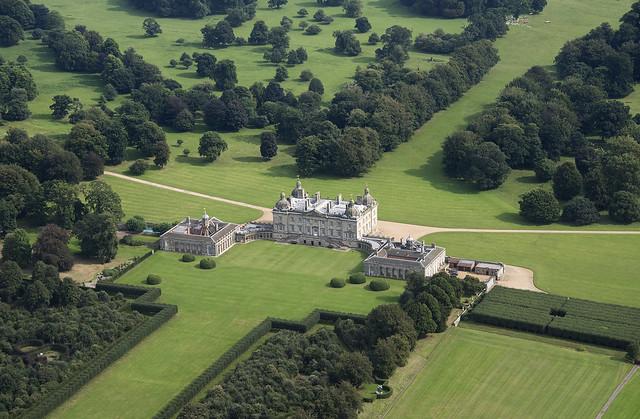 Houghton Hall in Norfolk UK aerial image